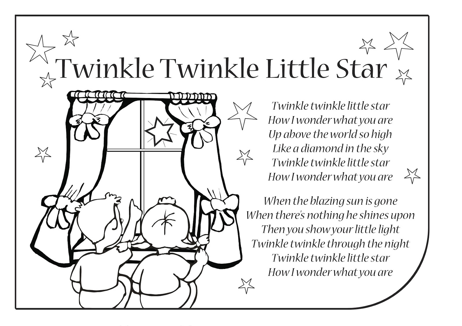 El Blog De La Profe Isa Canciones Para Usar En Ingl 233 S Twinkle Twinkle Coloring Page