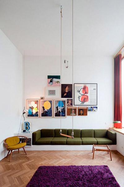 balançoire intérieure salon vintage