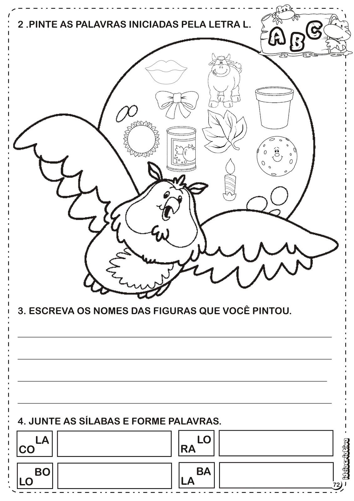 Blog Professor Zezinho Atividades Com A Letra L