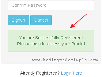 codeignitor-user-registration-process-success
