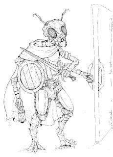 En äventyrande insektsperson med fyra armar i vilka hen håller en lykta, en sköld, ett svärd och en dörr.