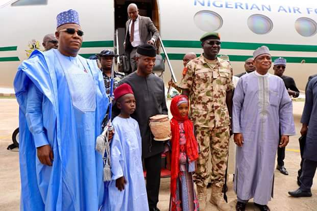 Photos: Vice President Osinbajo arrives Borno State