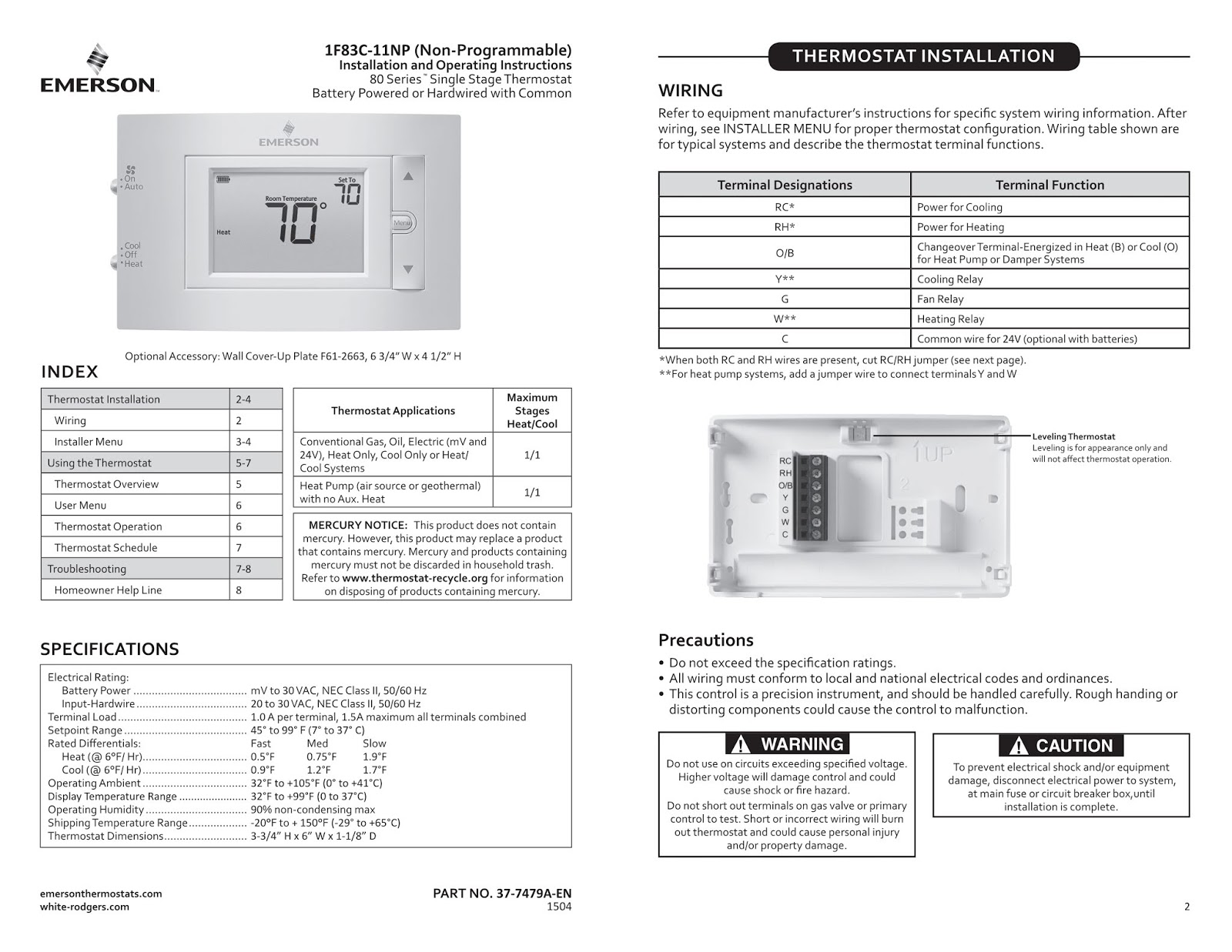 Emerson 1F83C-11NP Thermostat User Manual