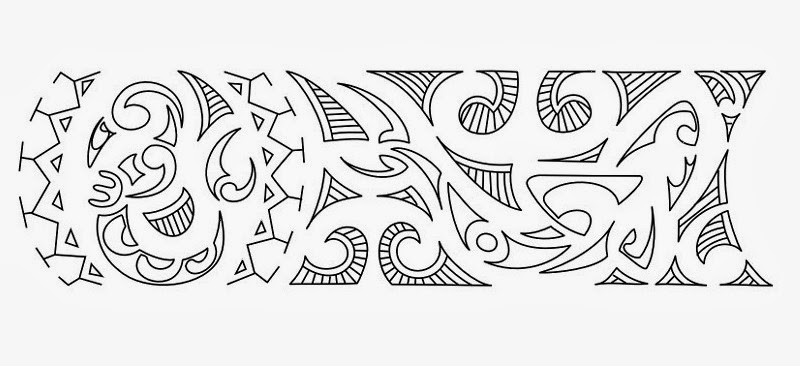 "Wristband ""new start"" Samoan tattoo stencil"