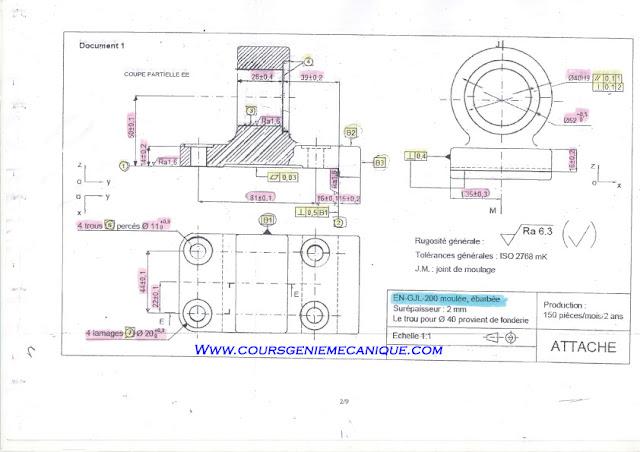 exercice contrat de phase fabrication mécanique sur machine conventionnel et machine outil à cn