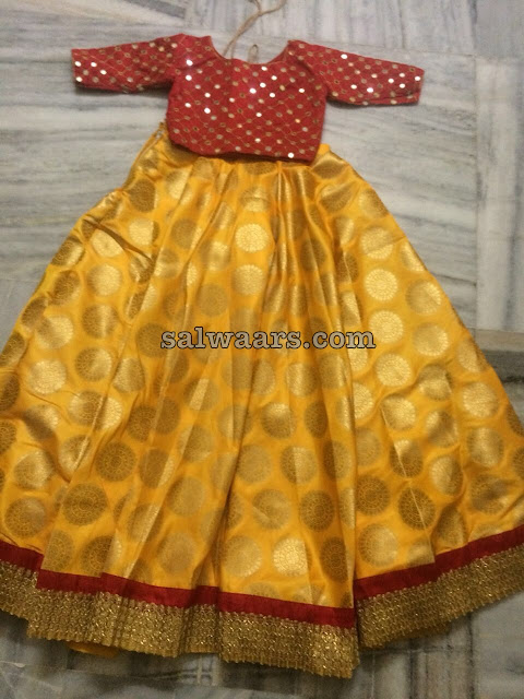 Mustard Benaras Skirt Mirror Work Crop Top