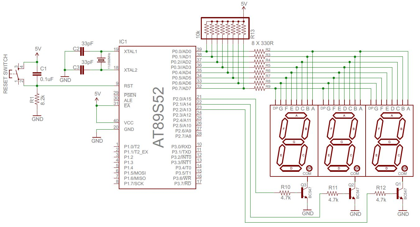 Open Electronics Project Multiplexed Seven Segment Display Circuit Diagram Shows The Required 8051 Microcontroller