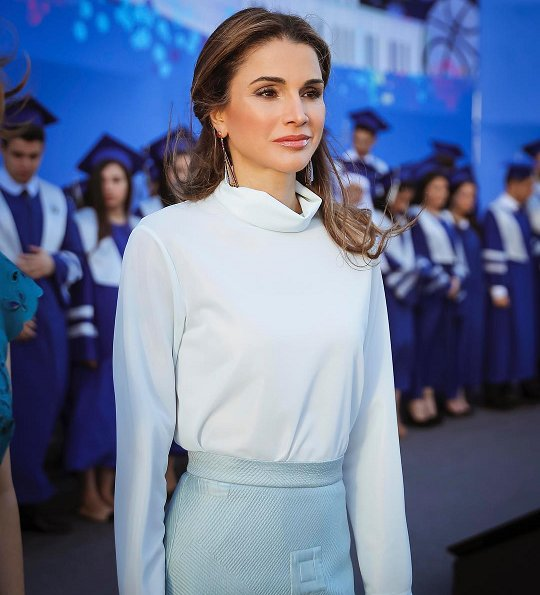 Queen Rania attended the 2017 graduation ceremony at the Amman International Academy (IAA) in Amman, Jordan