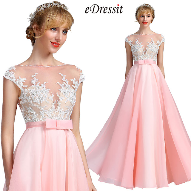 eDressit Cap Sleeves Pink Lace Appliques Evening Dress