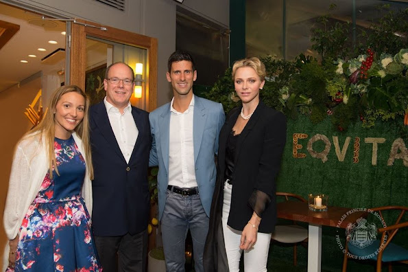 Prince Albert and Princess Charlene of Monaco visited the Novak Djokovic Café and Restaurant