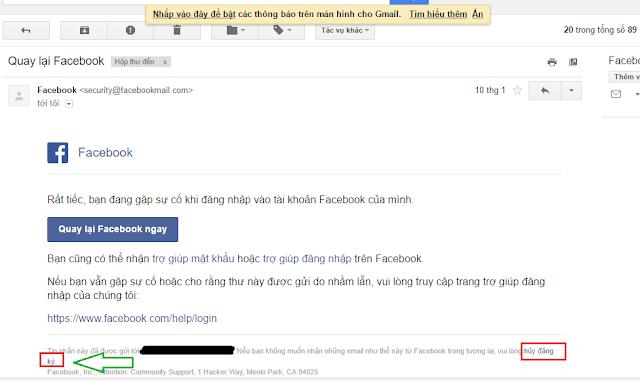 Chặn thông báo Facebook ngay trong email