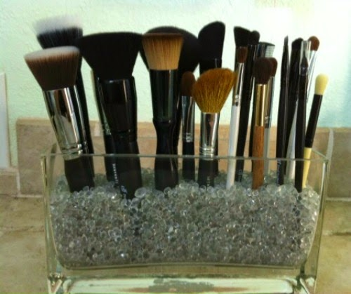 Once you've filled your container, about 2/3 full, its time to arrange your makeup brushes. Make sure to leave room in between your brushes.