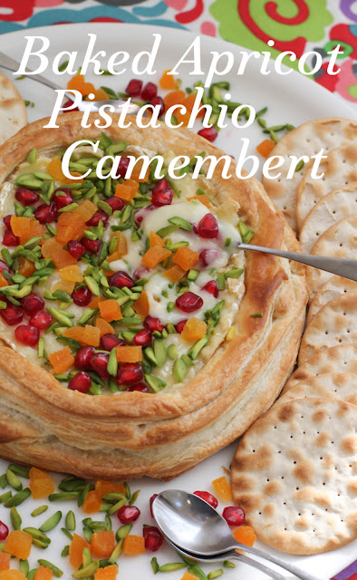 Food Lust People Love: Super simple to make, especially if you use store-bought puff pastry, this colorful Baked Apricot Pistachio Camembert makes the perfect appetizer for your dinner party, to serve along with cocktails and wine or to present as the cheese course at the end of your meal.