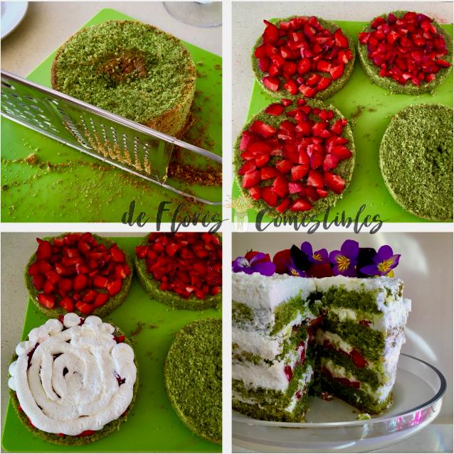 tarta con flores comestibles, pensamientos