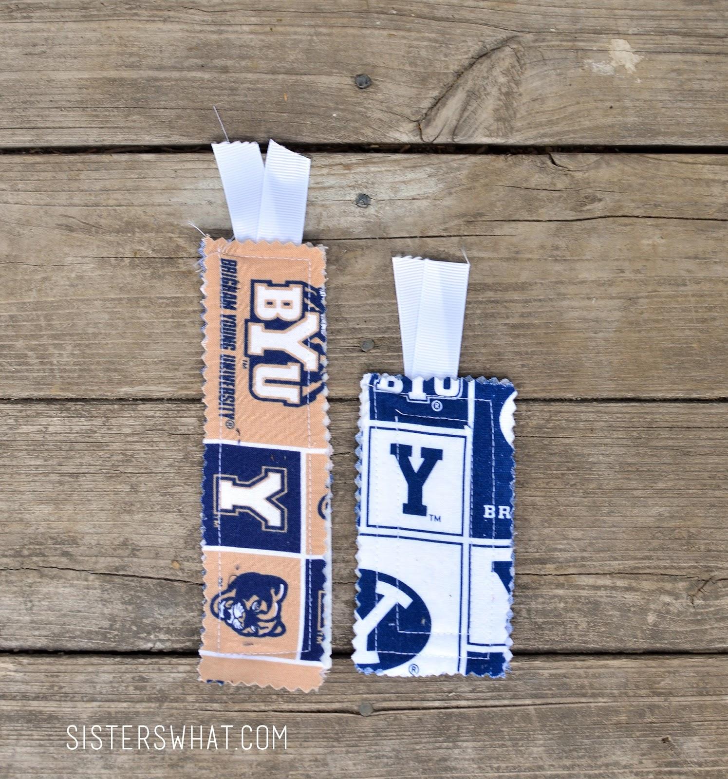 Fabric bookmarks tutorial using favorite sports team fabric