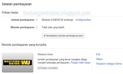 Pembayaran Metode Western Union Akun Adsense