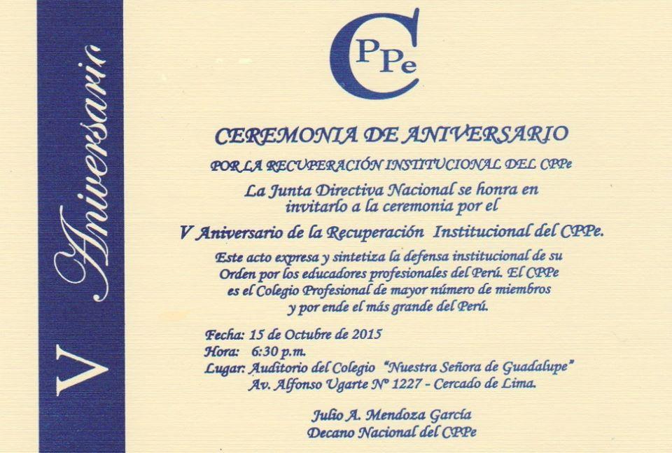 Sutep Trujillo Rv Invitación A La Ceremonia Por El V