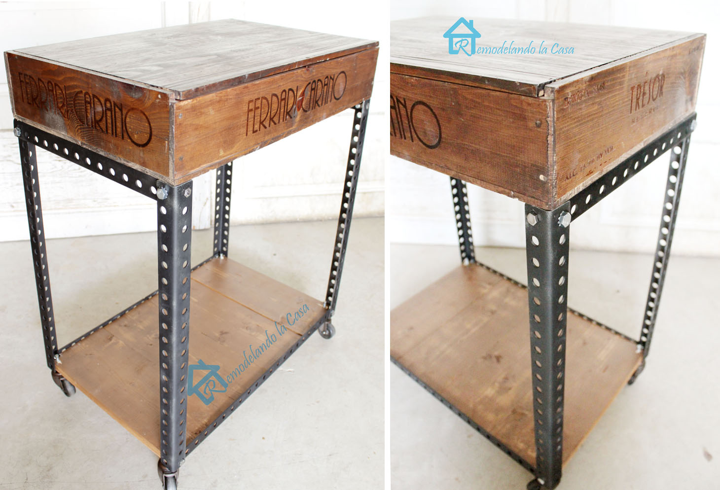 diy industrial side table remodelando la casa. Black Bedroom Furniture Sets. Home Design Ideas