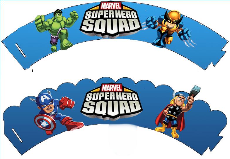 Wrappers para cupcakes de Marvel Superhero Squad.