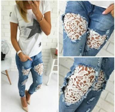 Customização de calça jeans moderna e despojada com renda