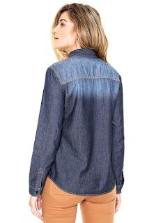 Camisa Jeans Colcci Comfort Bolsos Azul