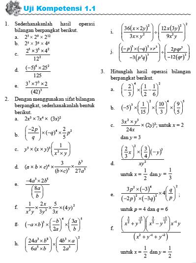 Uji Kompetensi Eksponen SMA Kurikulum 2013 - Soal dan Pembahasan (1.1)