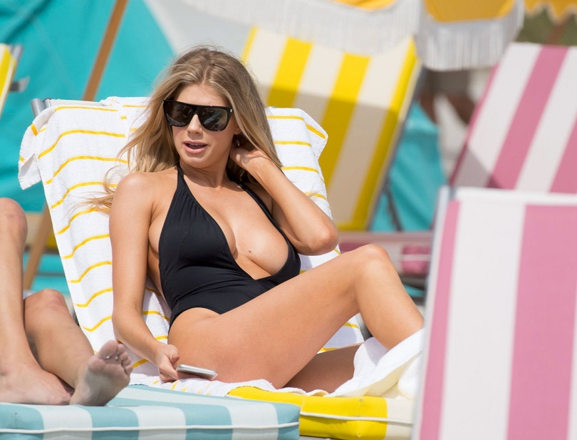Charlotte McKinney's bust on display in Miami