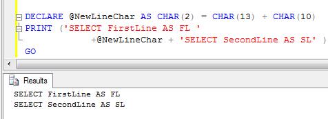 SQL Server: Line Break In SQL Sever