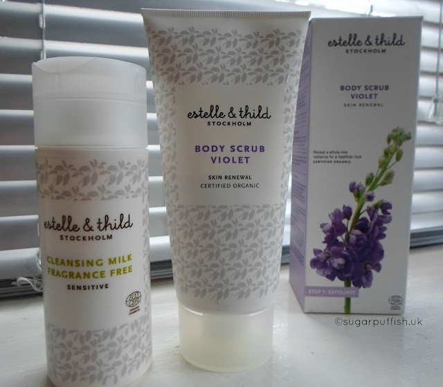 Review Estelle & Thild Cleansing Milk Fragrance Free and Body Scrub Violet