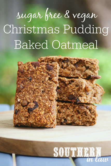 Easy Healthy Christmas Pudding Baked Oatmeal Recipe - low fat, gluten free, vegan, sugar free, clean eating recipe, nut free, egg free, dairy free, 4 ingredients