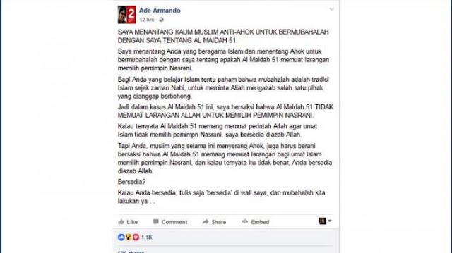Terkait Kebenaran Makna Al Maidah 51, Dosen UI Ini Tantang Adu Saling Laknat Dengan Umat Muslim