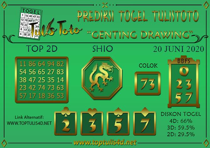 Prediksi Togel GENTING DRAWING TULISTOTO 20 JUNI 2020