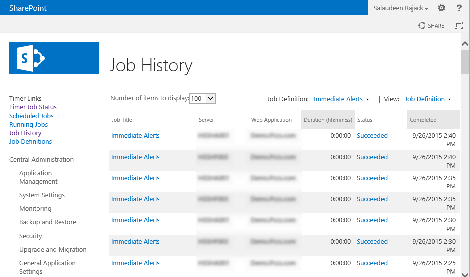sharepoint 2013 export timer job history