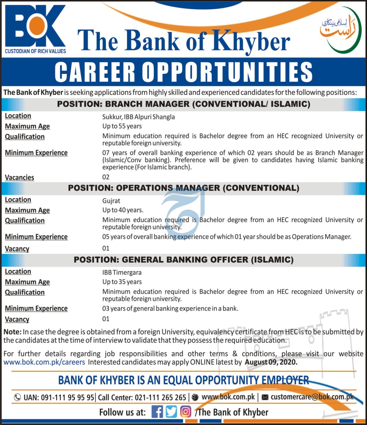 Bank of Khyber Jobs 2020 For Sukkur Gujrat Career Opportunities