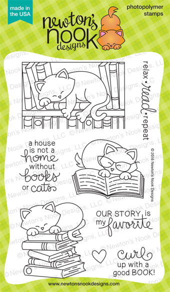 Newton's Book Club  4 x 6  | Cat and Books Stamp set | Newton's Nook Designs #newtonsnook