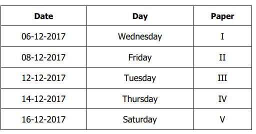 Palamuru University PG Exam Time Table Dec 2017