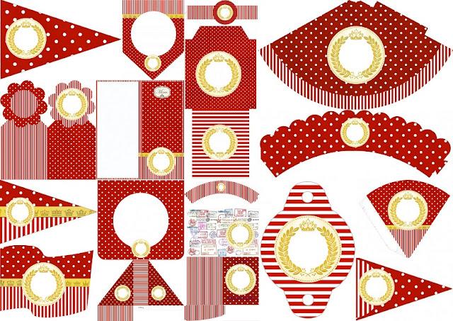 Corona Dorada en Rojo: Imprimibles Gratis para Bodas.