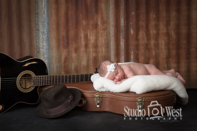 Atascadero Baby Portrait - Guitar Baby Shoot - Studio 101 West Photography