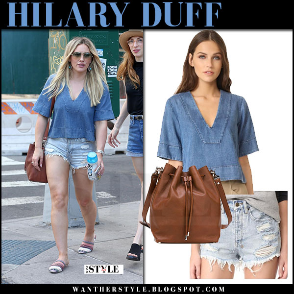 Hilary Duff in blue top and ripped denim shorts ksubi what she wore june 24 2017 streetstyle
