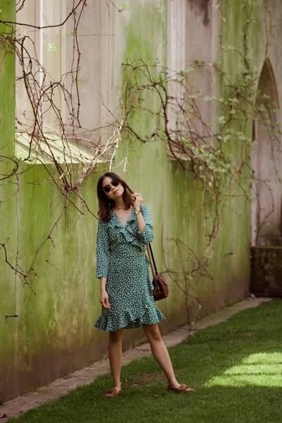 rouje green wrap dress