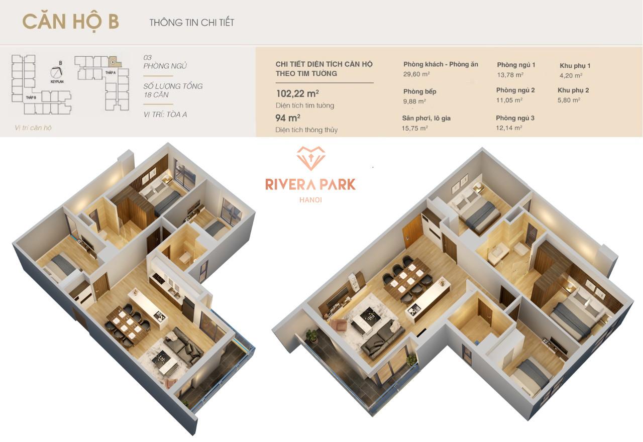 Thiết kế căn hộ Rivera Park Hà Nội Loại B | Căn Số 8 Tòa A