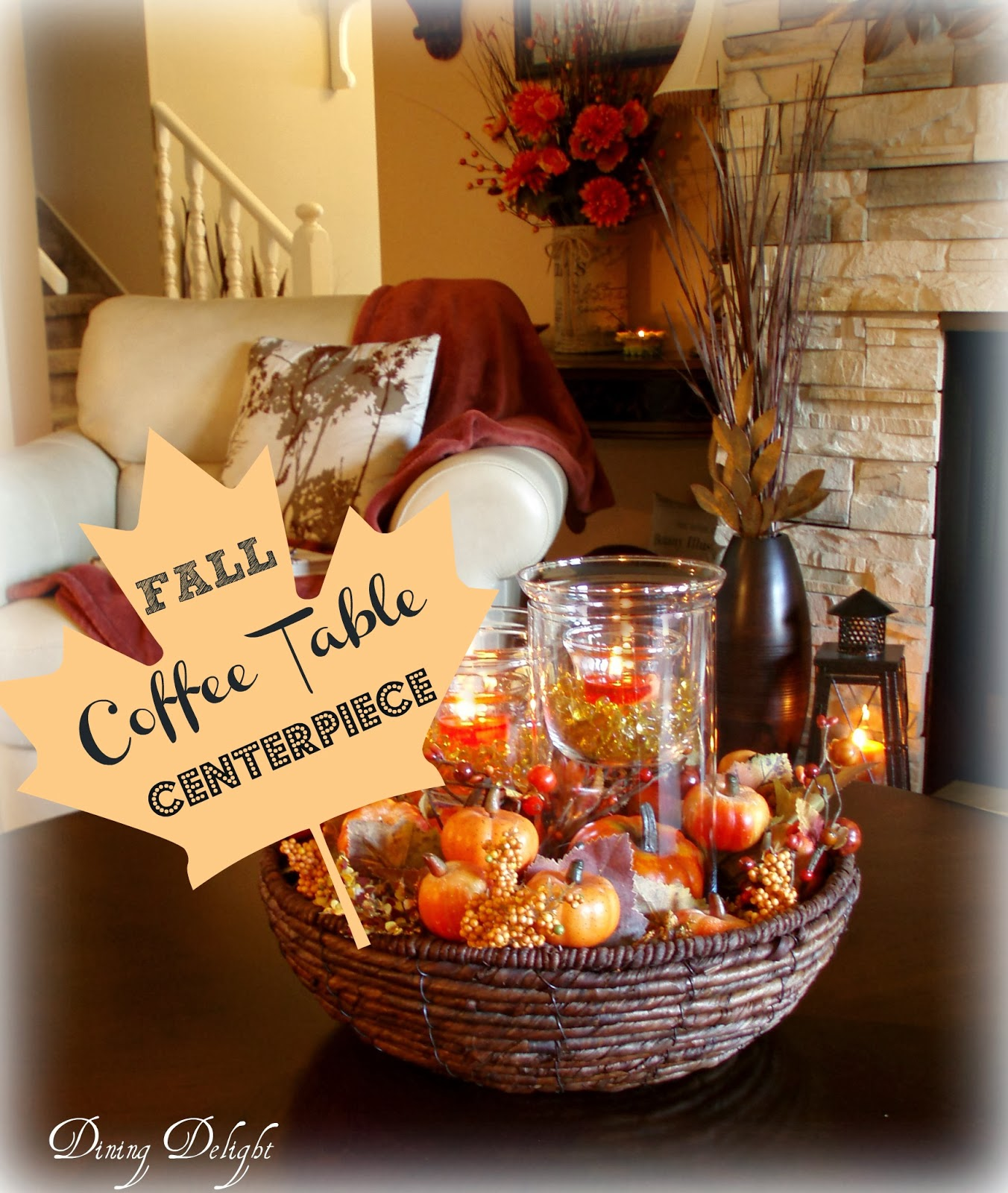 Centerpiece Ideas For Coffee Table: Dining Delight: Fall Coffee Table Centerpiece
