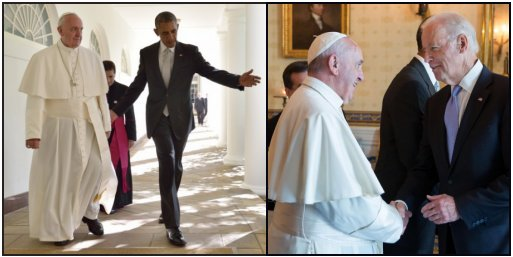 Obama and Biden with the Pope