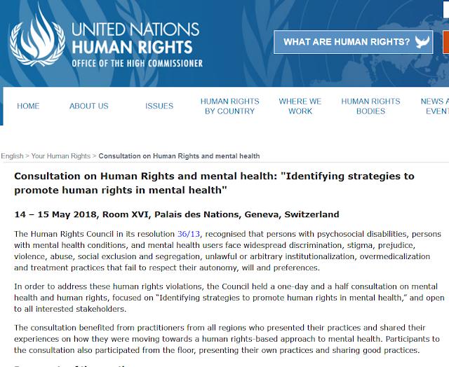 """דו""""ח האו""""ם החדש בנושא זכויות אדם בבריאות הנפש: יש לשים סוף לטיפולים פסיכיאטרים בכפייה!"""