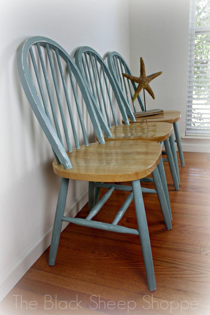 Duck egg blue chairs with natural wood seats