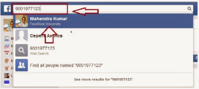 Facebook number search using mobile People can