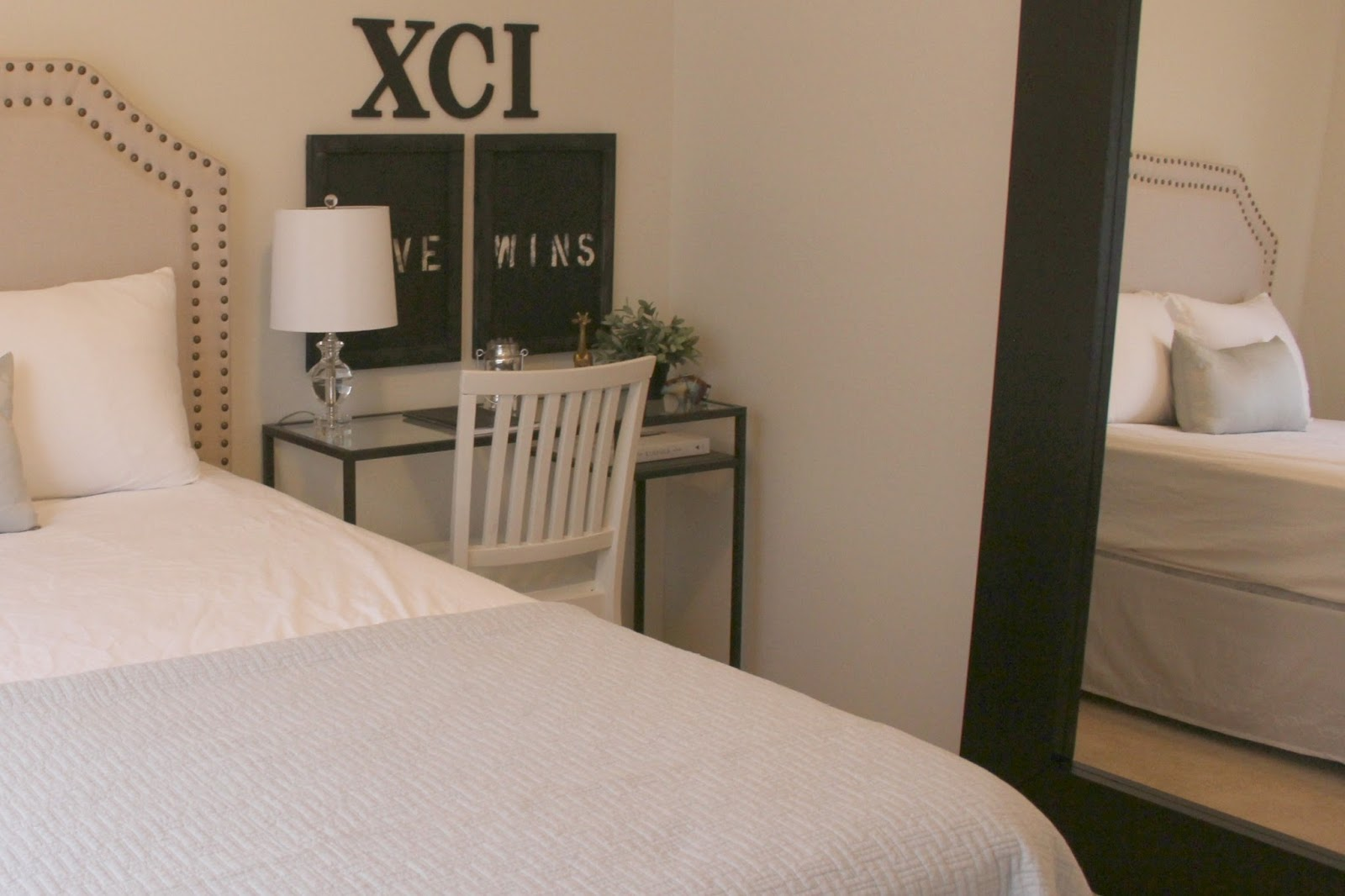 Best DIY bedroom decor makeover with serene European inspired modern farmhouse style by Hello Lovely Studio