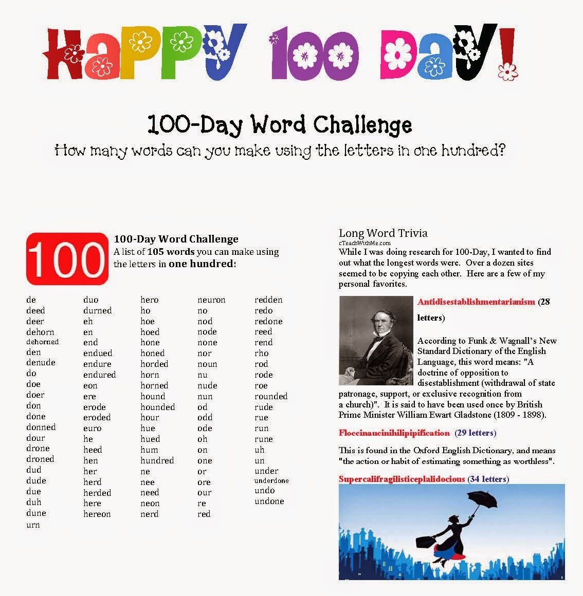 Classroom Freebies 100 Day Word Challenge Game