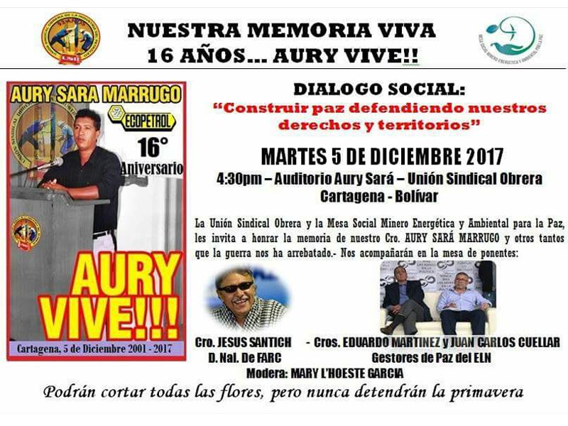 Foro 'Construir paz defendiendo nuestros derechos y territorio', en memoria de Aury Sará Marrugo