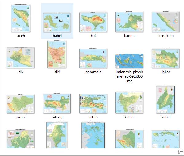 Peta Digital 33 Provinsi Ukuran HD